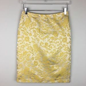 Banana Republic Factory Yellow Silk Pencil Skirt